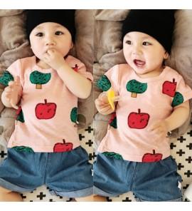 Baby Girl Boy Cute Pink Apple Short Sleeve T-Shirt Tops