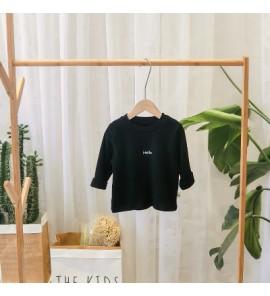 Baby Girl Boy Cute Simple Basic Hello Cotton Long Sleeve T-Shirt Tops