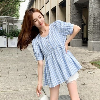 Maternity Clothing Casual Small Round Neck Plaid Short-sleeved Shirt