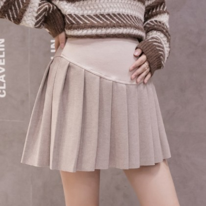 Maternity Clothing Woolen Solid Color Pleated A-line Skirt