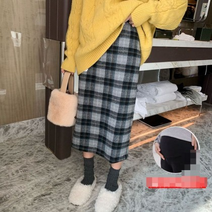 Maternity Clothing Casual Woolen One-step Belly Lift Plaid Loose Skirt