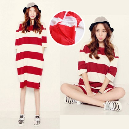 Maternity Clothing Pregnant Women Summer Cotton Striped Nightdress