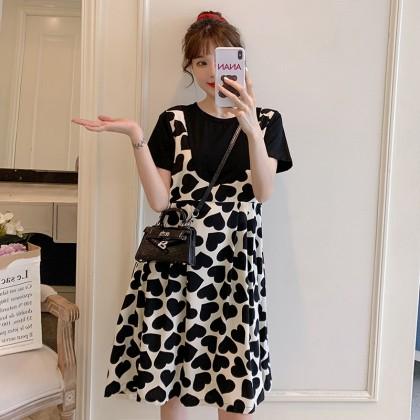 Maternity Clothing Breastfeeding Loose Slim Fake Two-piece Dress