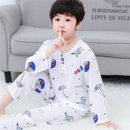 Kids Clothing Boys Long-sleeved Cotton Silk Air-conditioned Home Service Pajamas Set