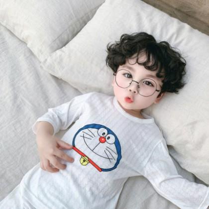 Kids Clothing Boys Long-sleeved Cotton Silk Air-conditioned Cartoon Print Pajamas Set