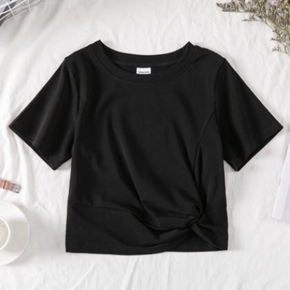 Kids Clothing Girls Half-sleeved Western-style Top