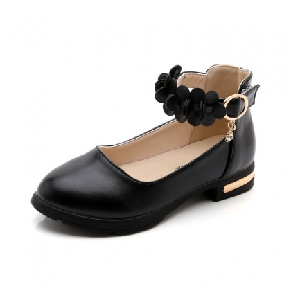 Kids Girls British Style Small High-heel Leather Shoes