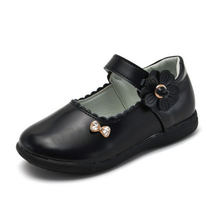 Kids Girls British Style Floral Decoration Leather Shoes