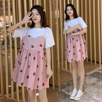 Maternity clothing summer short-sleeved mid-length loose-fitting dress
