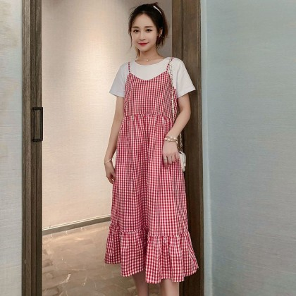 Maternity clothing summer short-sleeved long loose foreign  dress