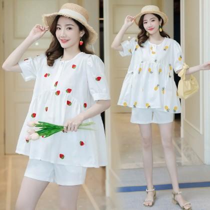 Maternity clothing cotton short-sleeved summer shirt