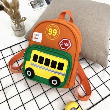 Kids Boys Fashion Kindergarten School Bus Print on Backpack