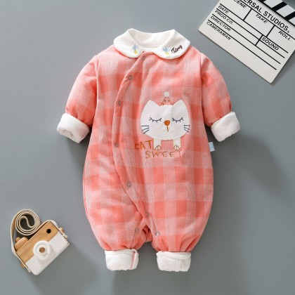 Baby Clothing Warm Romper Climbing Plaid Suit