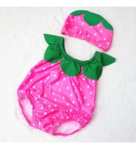 Baby Girl Boy Cute Strawberry with Swimming Cap Swimsuit Swimwear