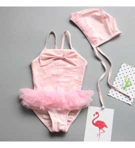 Baby Girl Cute Sequins Dress with Swimming Cap Swimsuit Swimwear