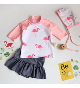 Baby Girl Cute Short Sleeve Flamingo with Swimming Cap Swimsuit Swimwear