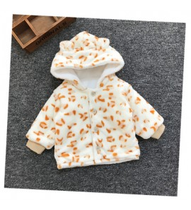 Baby Newborn Girl Boy Cute Beige Leopard Spots Winter Travel Keep Warm Jacket