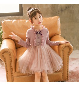 Kids Children Girl Cute Bridesmaid Formal Long Sleeve A Shape One Piece Dress