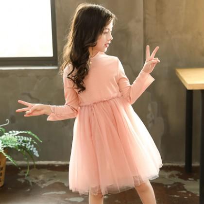 Kids Children Girl Cute Pink Mesh Bridesmaid Formal Long Sleeve A Shape Dress