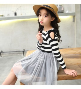 Kids Children Girl Cute Stripe Mesh Bridesmaid Formal Long Sleeve A Shape Dress