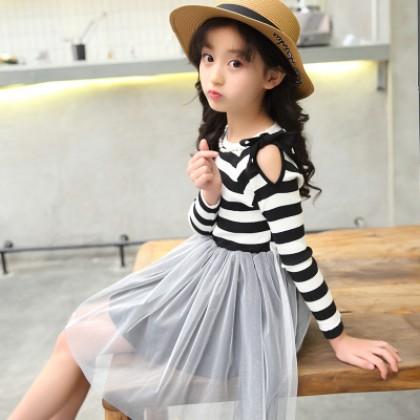Kids Children Girl Cute Stripe Mesh Bridesmaid Formal Long Sleeve A Shape Dress