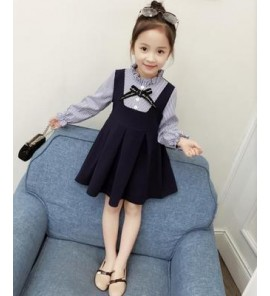 Kids Children Girl Cute Formal Straps Ribbon Long Sleeve A Shape Dress