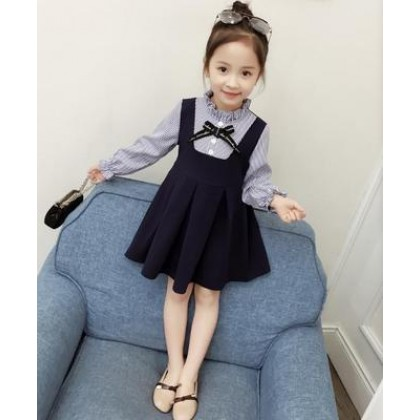 Kids Children Girl Cute Formal Straps Ribbon Long Sleeve A Shape Dress