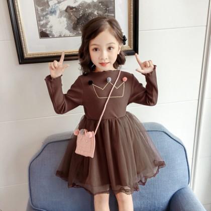 Kids Children Girl Cute Crown Princess Mesh Long Sleeve A Shape Dress