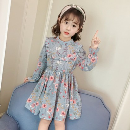 Kids Children Girl Cute Blue Retro Flora Princess Mesh Long Sleeve A Shape Dress