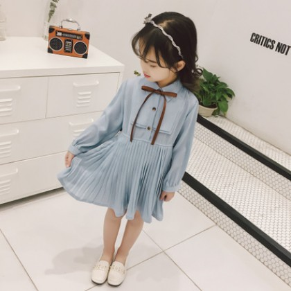 Kids Children Girl Cute Blue Chiffon Ribbon Long Sleeve A Shape Dress