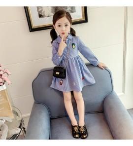 Kids Children Girl Cute Fruits Shirt with Collar Long Sleeve A Shape Dress