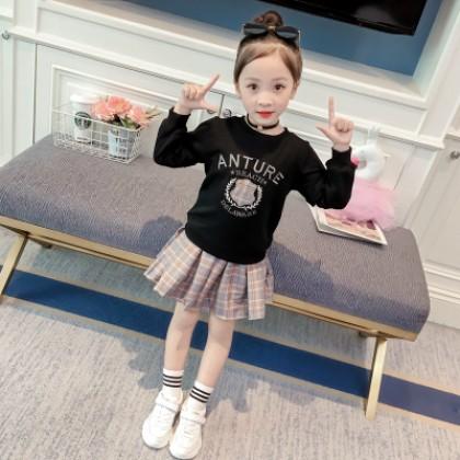 Kids Children Girl Cute College Student T-Shirt Long Sleeve A Shape Dress