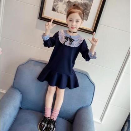 Kids Children Girl Cute Blue Fish Tail Long Sleeve A Shape Dress