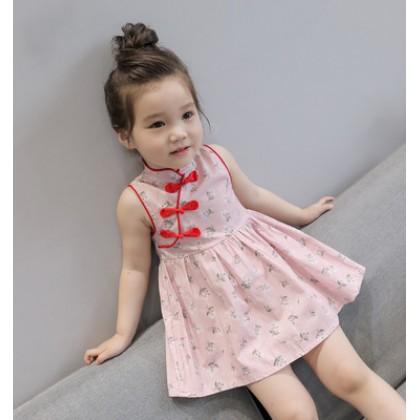 Kids Children Girl Cute Cheong Sam Flora One Piece Dress