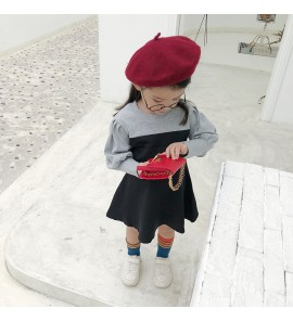 Kids Children Girl Cute Mixed Color Formal Long Sleeve A Shape Dress