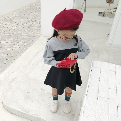 Kids Children Girl Cute Mixed Color Formal Long Sleeve A Shape Dress