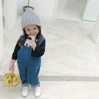 Kids Children Girl Cute Denim Jeans Rompers Jumpsuit Strap Pants