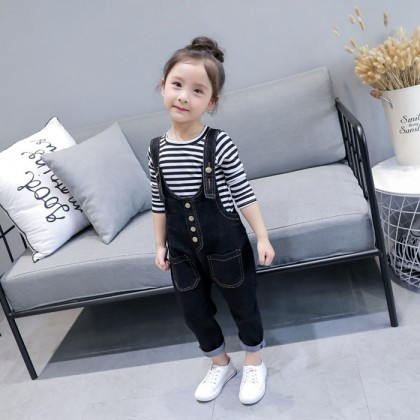 Kids Children Girl Cute Denim Jeans Jumpsuit Rompers Two Pieces One Set