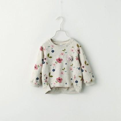 Kids Children Girl Cute Grey Flora Flower Long Sleeve T-Shirt Top Blouse
