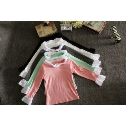 Kids Children Girl Cute Lace High Neck Long Sleeve T-Shirt Top Blouse