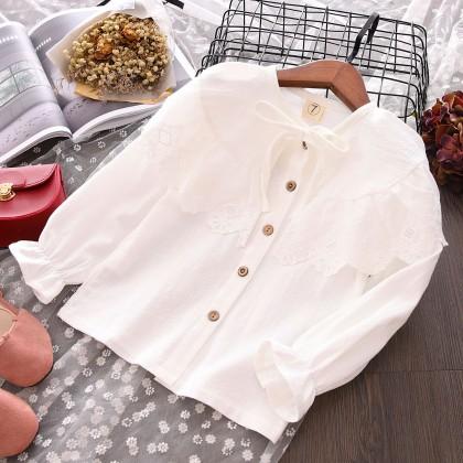 Kids Children Girl Retro Lace Ribbon Casual Long Sleeve T-Shirt Top Blouse