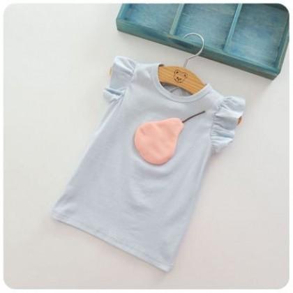 Kids Children Girl Cute Pearl Cartoon Short Sleeve T-Shirt Top Blouse