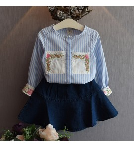 Kids Children Girl Blue Stripes Formal Shirt Long Sleeve T-Shirt Top Blouse