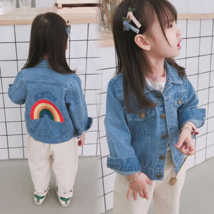 Kids Children Girl Cool Korean Rainbow Denim Jeans Jacket Coat