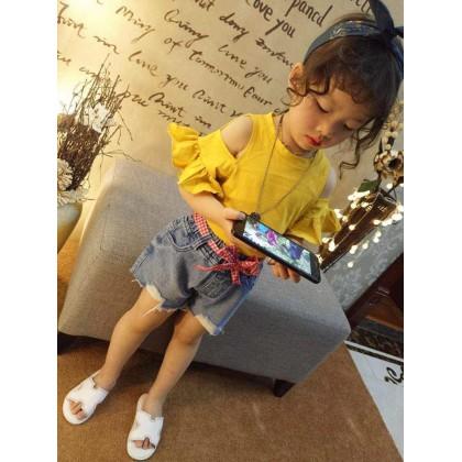 Kids Children Girl Casual Yellow Off Shoulder Short Sleeve T-Shirt Top Blouse