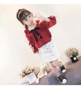 Kids Children Girl Cute Korean Red Ribbon Formal T-Shirt Top Blouse