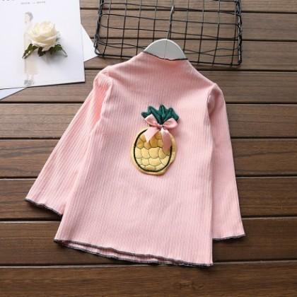 Kids Children Girl Casual Elastic Pineapple Long Sleeve T-Shirt Top Blouse
