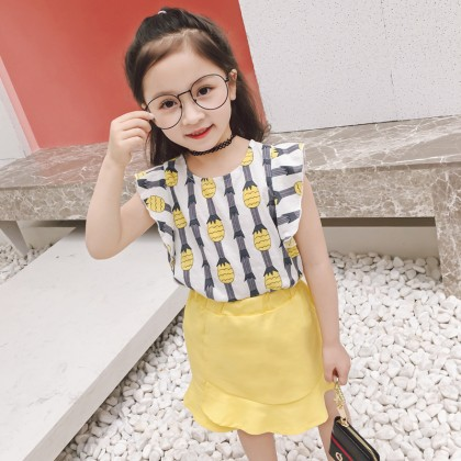 Kids Children Girl Casual Yellow Pineapple Short Sleeve T-Shirt Top Blouse