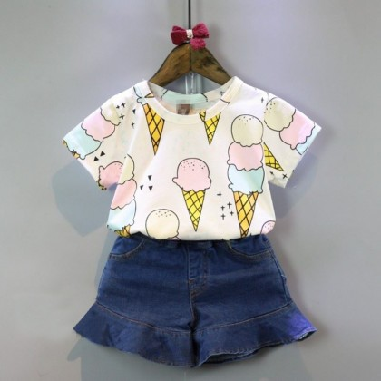 Kids Children Girl Cute Fun Ice Cream Casual Short Sleeve Cardigan Jacket