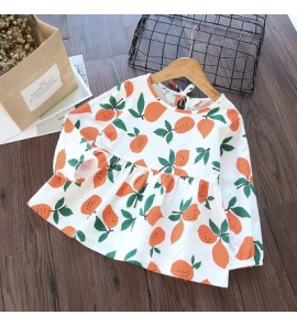 Kids Children Girl Korean Fruits Orange Long Sleeve Tops T-shirt Blouse
